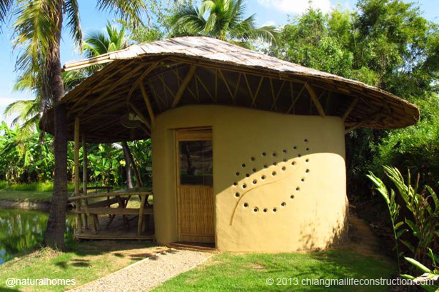 A tiny adobe and bamboo cottage colossus of rhodes for Adobe house construction cost