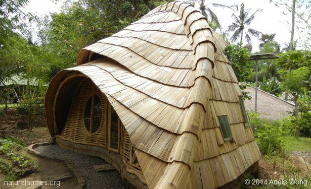 natural building with bamboo clay stone and thatch in bali