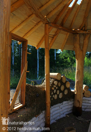 Earthbag and cordwood walls in natural home
