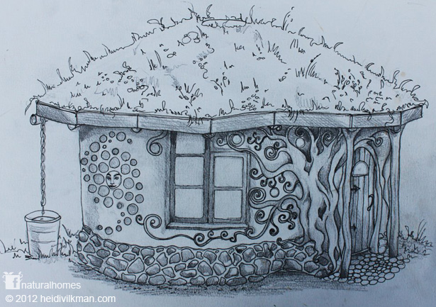 Pencil sketch of natural home