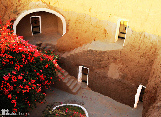 Underground Cave Home.  is situated on a shelf of sandstone that soft enough to excavate with hand tools but sturdy provide homes for centuries The Berber cave Tunisia