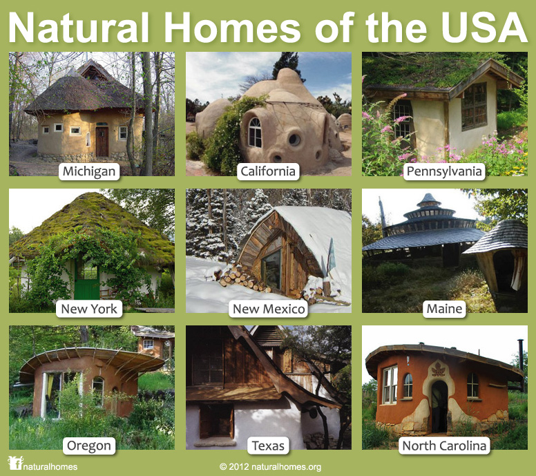 Natural Building across the USA on shelter home designs, straw bale home designs, rammed earth home designs, earthship home designs, stucco home designs, cob home designs, earthbag home designs, adobe home designs,