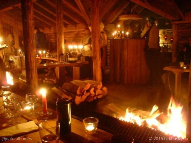 cabin with fireplace. A Norwegian longhouse with a unique central fireplace  log cabin green roof