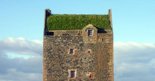 The Green Roof Of Smailholm Tower Scotland