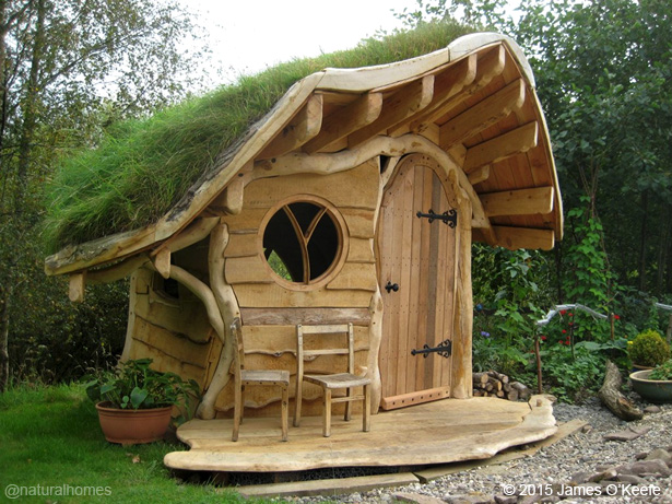 Tiny oak playhouse with a green roof step by step Wooden homes to build